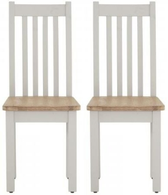 Vancouver Compact Light Grey Dining Chair with Timber Seat (Pair)