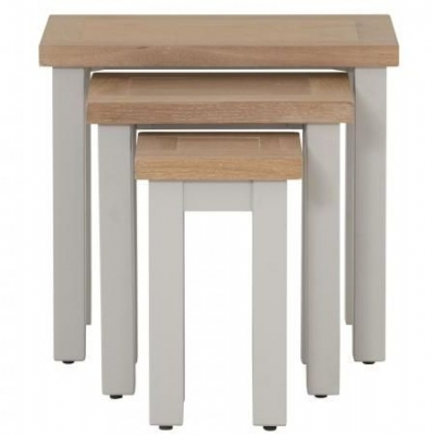Vancouver Compact Nest of 3 Tables - Oak and Light Grey