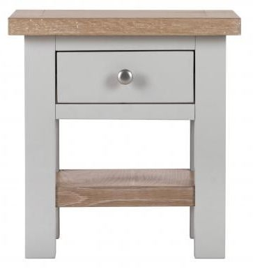 Vancouver Compact 1 Drawer Side Table - Oak and Light Grey