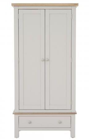 Vancouver Compact 2 Door 1 Drawer Wardrobe - Oak and Light Grey