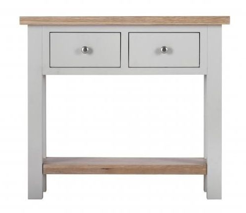 Vancouver Compact 2 Drawer Console Table - Oak and Light Grey