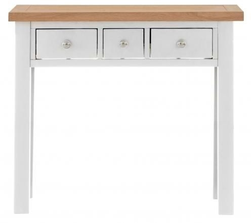 Vancouver Compact 3 Drawer Dressing Table - Oak and Light Grey