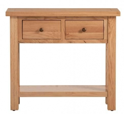 Vancouver Compact Oak 2 Drawer Console Table