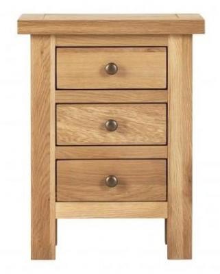 Vancouver Compact Oak 3 Drawer Bedside Cabinet