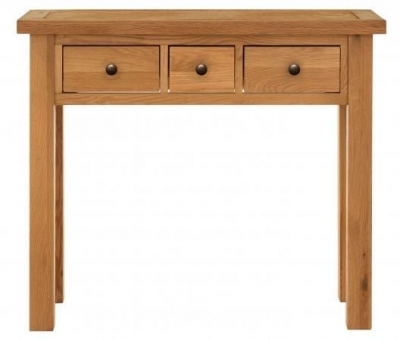 Vancouver Compact Oak 3 Drawer Dressing Table