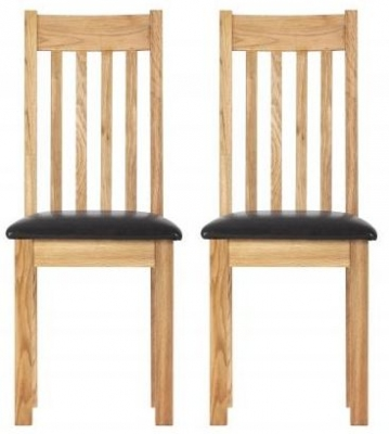 Vancouver Compact Oak Dining Chair with Bi-cast Leather Seat (Pair)