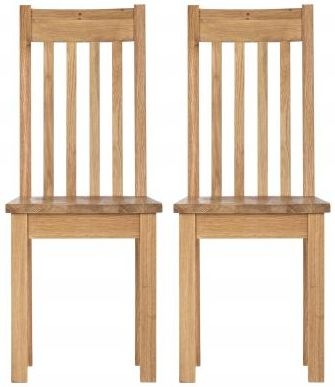 Vancouver Compact Oak Dining Chair with Timber Seat (Pair)