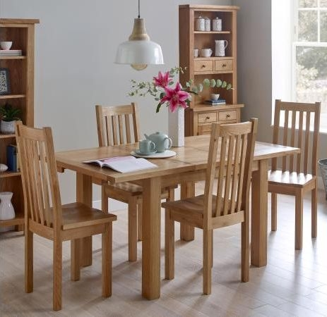 Vancouver Compact Oak Extending Dining Table and 4 Timber Seat Dining Chairs