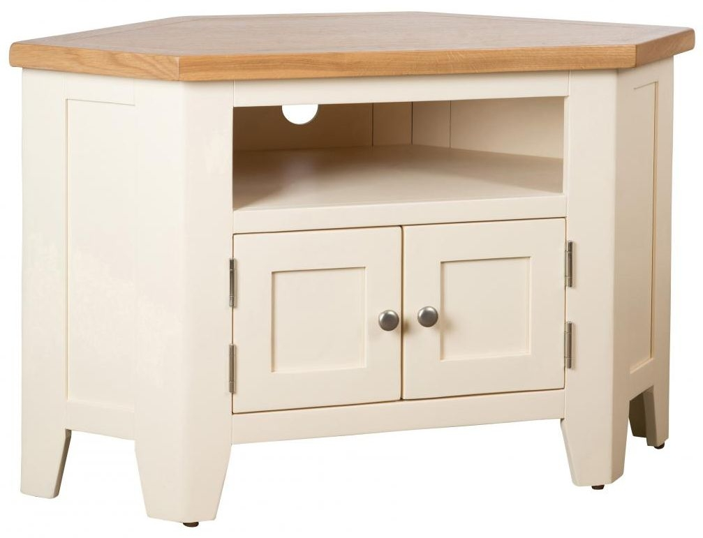 Vancouver Expressions Cornish Cream 90 Degree Corner TV Unit - 2 Door 2 Shelves