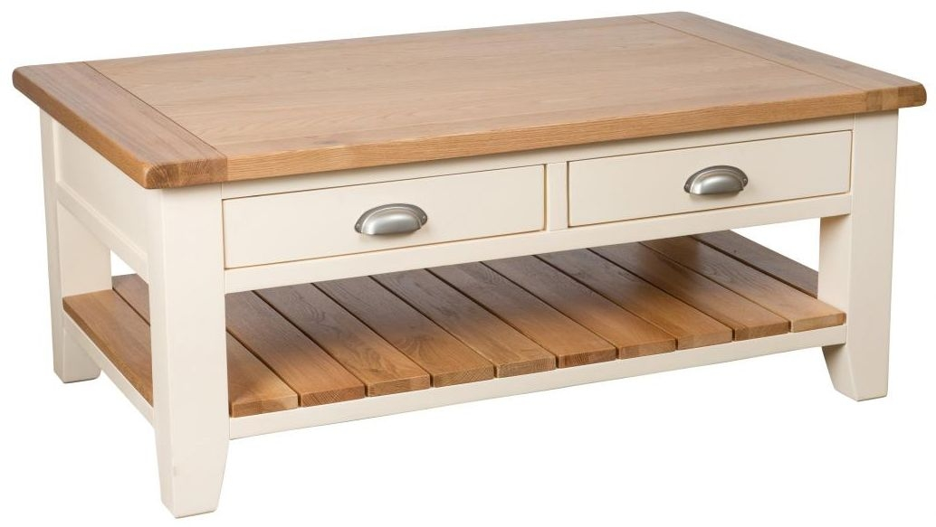 Vancouver Expressions Cornish Cream Coffee Table Rectangular 2 Drawer 1 Shelf Ak5