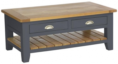 Vancouver Expressions Down Pipe Grey Coffee Table - Rectangular with 2 Drawers and 1 Shelf