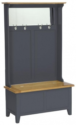 Vancouver Expressions Down Pipe Grey Hall Tidy Storage Bench with Coat Rack and Mirror