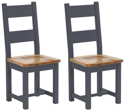 Vancouver Expressions Down Pipe Grey Dining Chair (Pair) - Timber Seat with Horizontal Slats