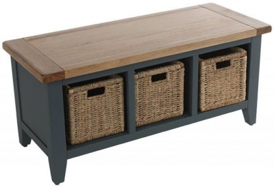 Vancouver Expressions Down Pipe Grey Storage Bench - 3 Basket Drawers
