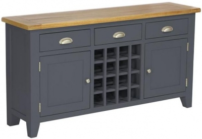 Vancouver Expressions Down Pipe Grey Wine Table - 3 Drawer 2 Door
