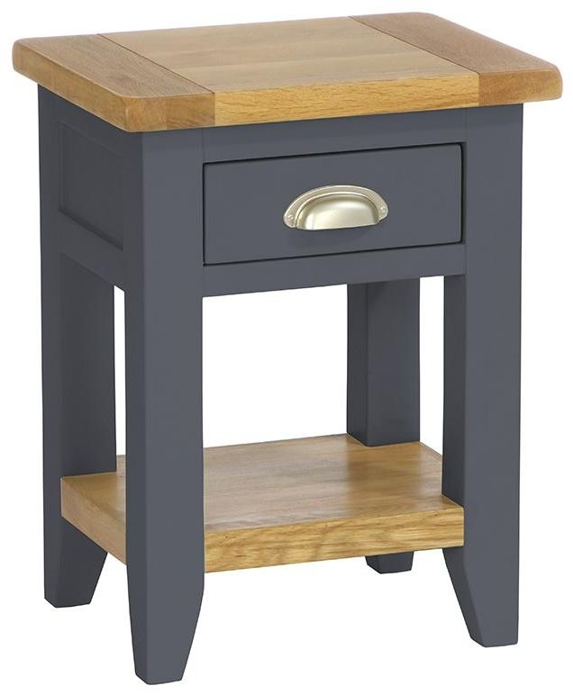 Vancouver Expressions Down Pipe Grey Bedside Table - 1 Drawer 1 Shelf