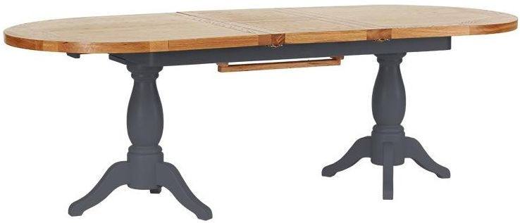 Vancouver Expressions Down Pipe Grey Dining Table - Twin Pedestal Extension 190cm-240cm