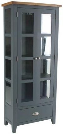 Vancouver Expressions Down Pipe Grey Glazed Display Cabinet - 1 Drawer 2 Door