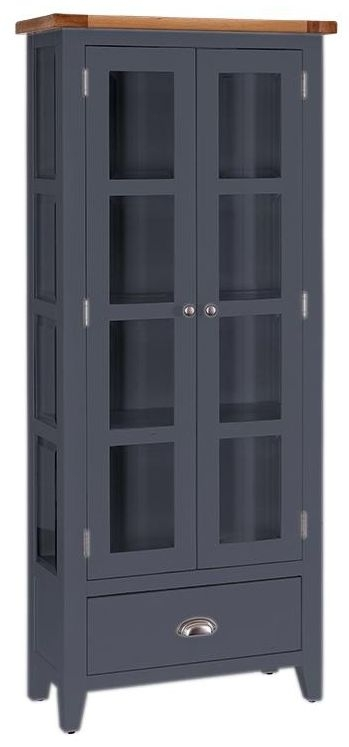 Vancouver Expressions Down Pipe Grey Glazed Display Cabinet - 2 Door 1 Drawer