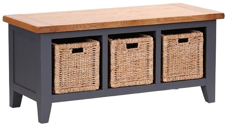 Vancouver Expressions Down Pipe Grey Storage Bench - 3 Basket Drawer