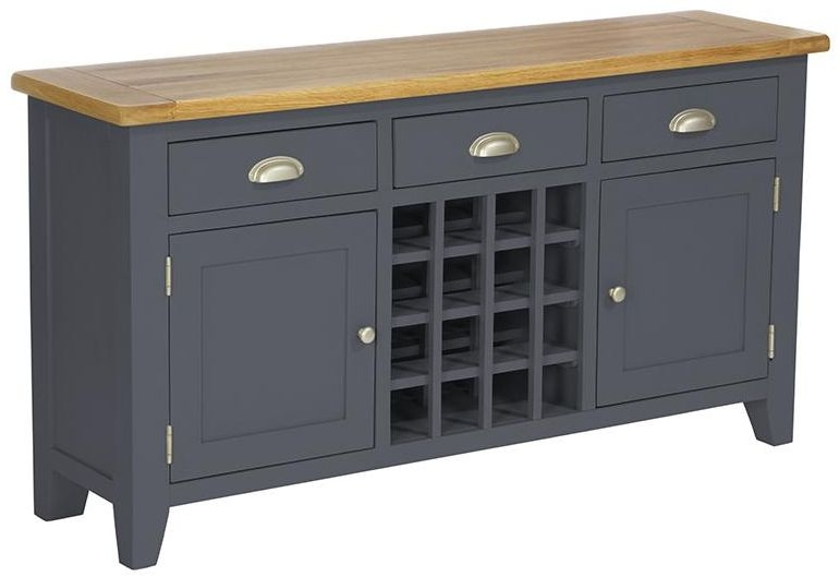 Vancouver Expressions Down Pipe Grey Wine Table - 2 Door 3 Drawer