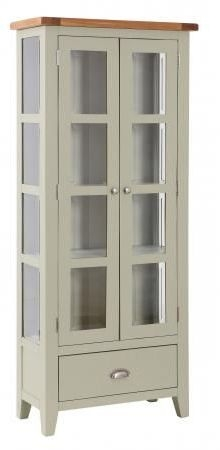 Vancouver Expressions 2 Door 1 Drawer Glazed Display Cabinet - Oak and Grey