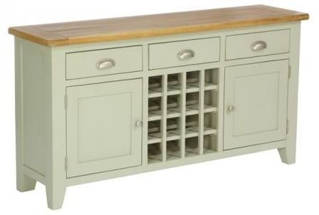 Vancouver Expressions 2 Door 3 Drawer Sideboard with Wine Rack - Oak and Grey