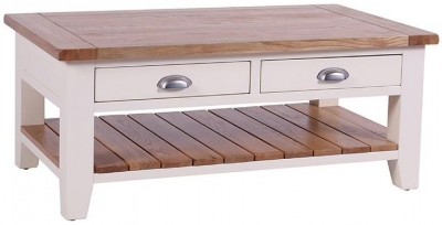 Vancouver Expressions Linen 2 Drawer Rectangular Storage Coffee Table