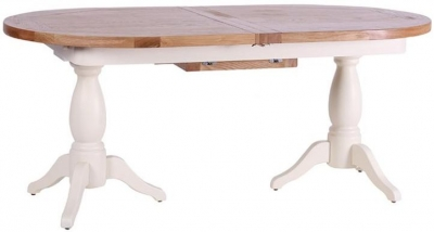 Vancouver Expressions Linen Twin Pedestal Dining Table - 190cm-240cm Oval Extending