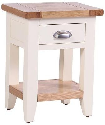 Vancouver Expressions Linen Bedside Table - 1 Drawer 1 Shelf