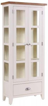 Vancouver Expressions Linen Glazed Display Cabinet - 1 Drawer 2 Door