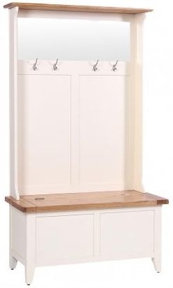 Vancouver Expressions Linen Hall Tidy Storage Bench with Coat Rack and Mirror