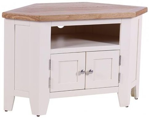 Vancouver Expressions Linen 90 Degree Corner TV Unit - 2 Door 2 Shelves