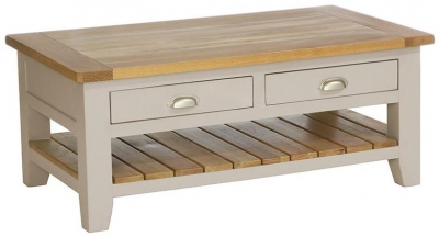 Vancouver Expressions Potters Wheel Coffee Table - Rectangular with 2 Drawer 1 Shelf