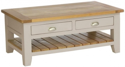 Vancouver Expressions Potters Wheel Coffee Table - Rectangular with 2 Drawers and 1 Shelf
