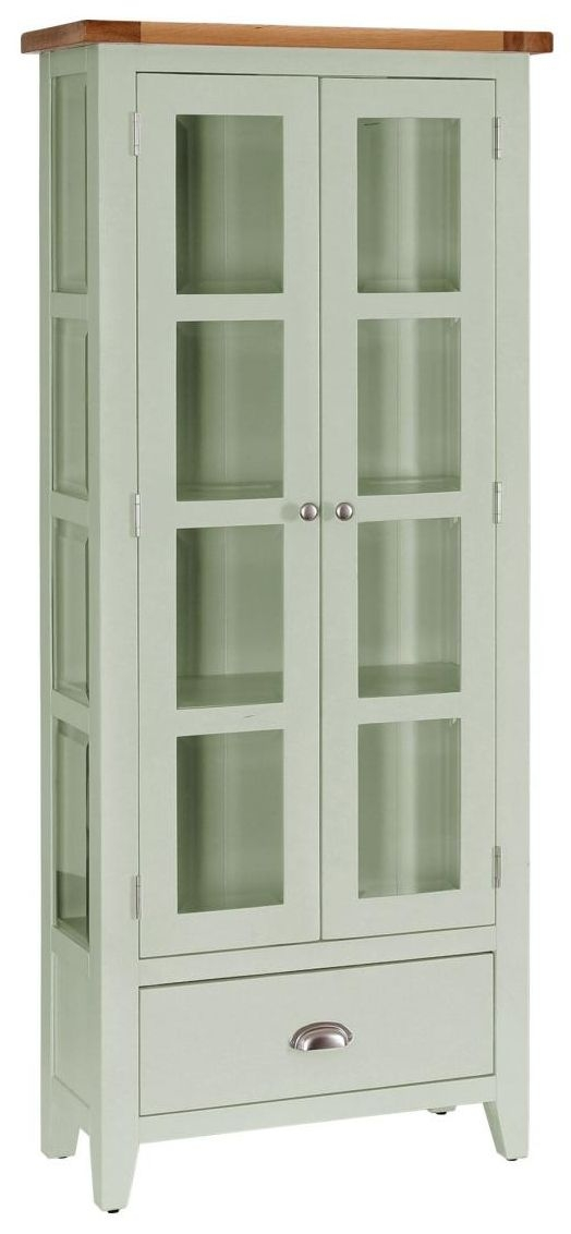 Vancouver Petite Expression Glazed Display Cabinet - 2 Door 1 Drawer