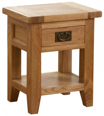 Vancouver Petite Oak Bedside Table - 1 Drawer 1 Shelf