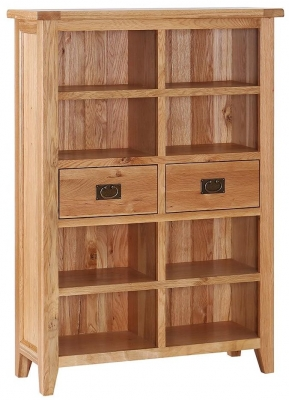 Vancouver Petite Oak Bookcase - Wide 2 Drawer