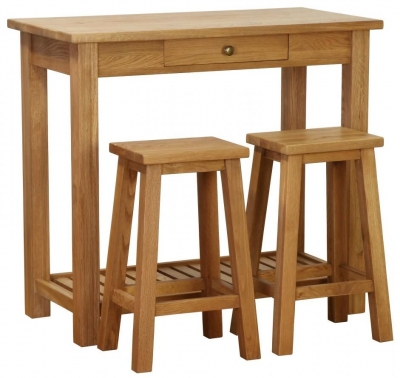 Vancouver Petite Oak 1 Drawer Breakfast Bar Table with 2 Stool
