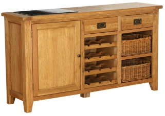 Vancouver Petite Oak Buffet - 1 Door 2 Drawer with Wine Rack