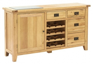Vancouver Petite Oak Buffet - 1 Door 4 Drawer with Wine Rack