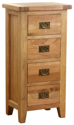 Vancouver Petite Oak 4 Drawer Tall Chest