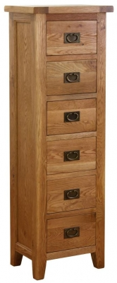 Vancouver Petite Oak 6 Drawer Tall Chest