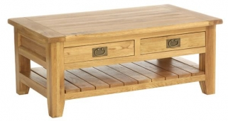 Vancouver Petite Oak Coffee Table - 2 Drawer Rectangular with 1 Shelf