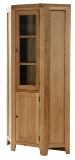 Vancouver Petite Oak Corner Display Cabinet - 1 Door 1 Glass Door with 2 Shelves