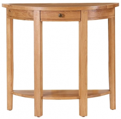 Vancouver Petite Oak Curved Console Table with Drawer