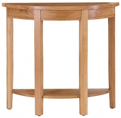 Vancouver Petite Oak Curved Console Table with Shelf