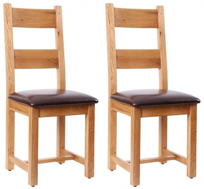 Vancouver Petite Oak Dining Chair with Chocolate Leather Seat (Pair)