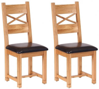 Vancouver Petite Oak Dining Chair - with Cross Back Chocolate Leather Seat Pad (Pair)