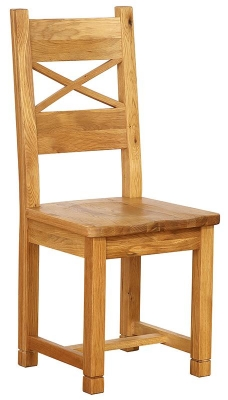 Vancouver Petite Oak Dining Chair - with Cross Back Timber Seat (Pair)
